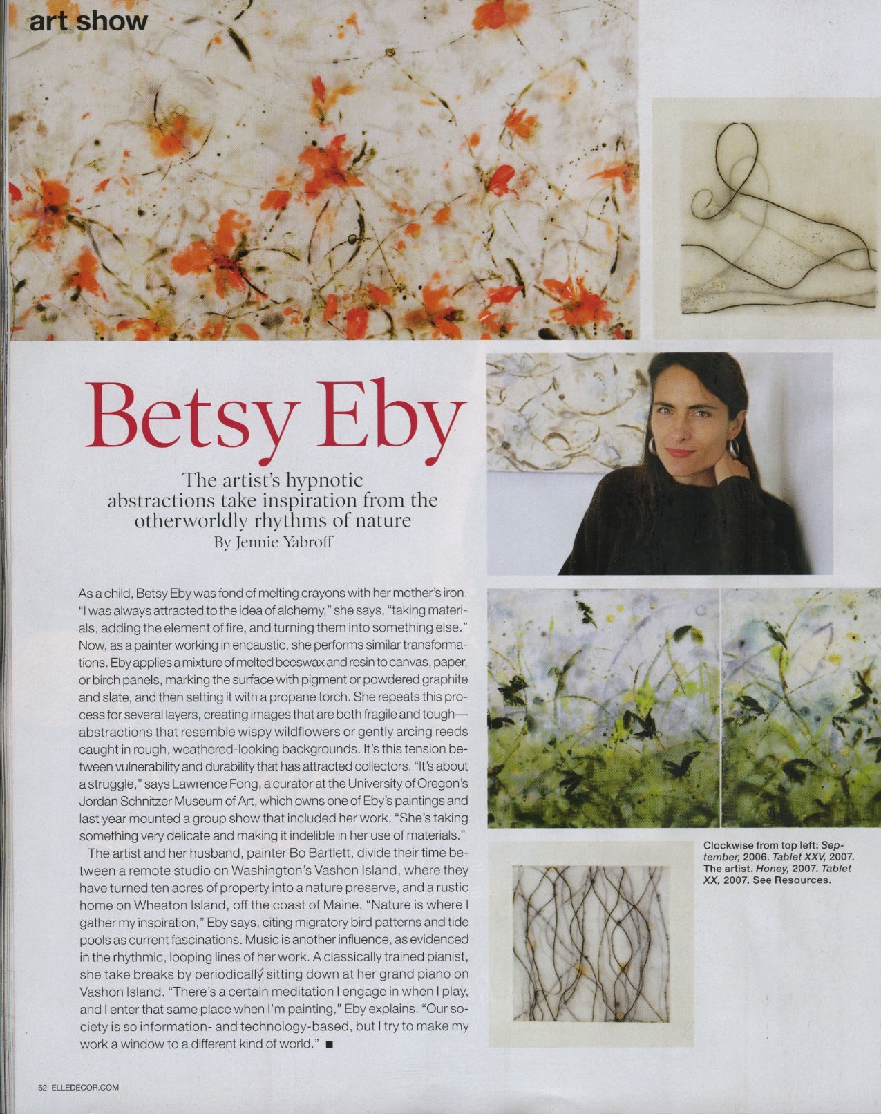 Betsy Eby featured in Elle Decor, December 2008