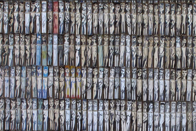 Annie Morris, Untitled (detail), watercolor, gouache and oil on wooden clothes pins, 101 x 84 inches
