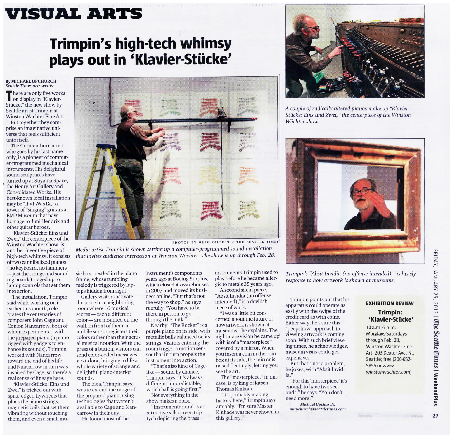 "The Seattle Times article on WWFA Seattle's current exhibit, ""Klavier Stucke"" by Trimpin"