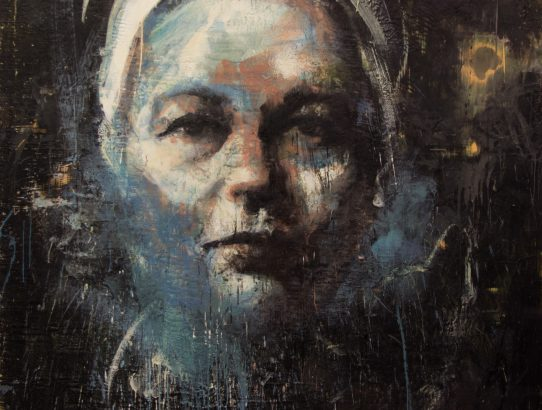 Tony Scherman, Simone de Beauvoir (14063), 2012-2014, Encaustic on canvas, 84 x 72 inches