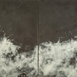 Betsy Eby, When the Wind Blows the Water White and Black, 2016, Encaustic on canvas on panel, 48 x 96 inches